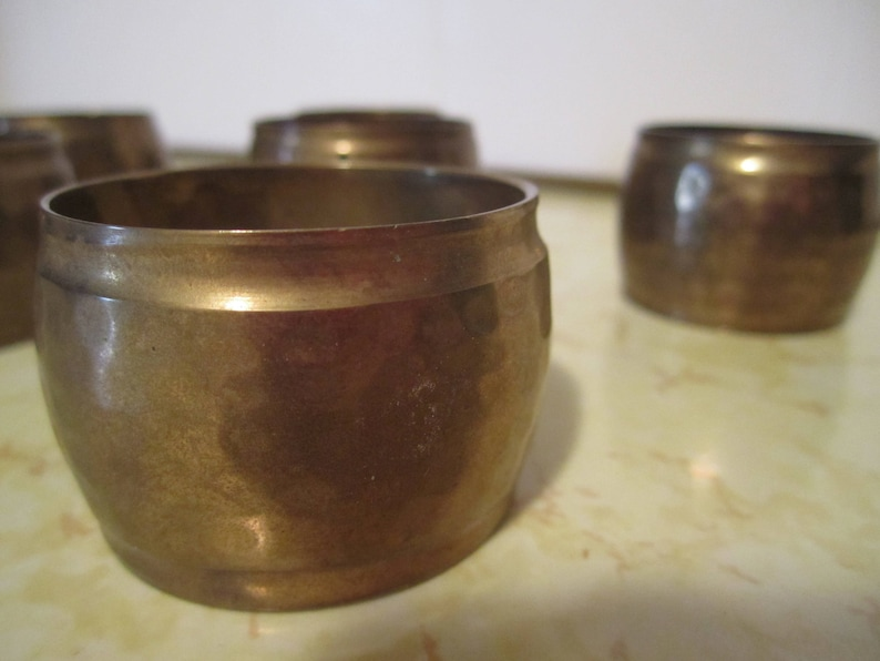 Vintage Brass Napkin Ring Holders Round Metal Table Decor Set of 6 Boho Bohemian Decor Made in India