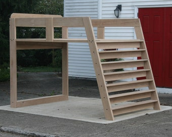 LbSnV05 Solid Hardwood Loft Bed With No Furniture Under It And Options For  Mattress Sizes And Wood Species