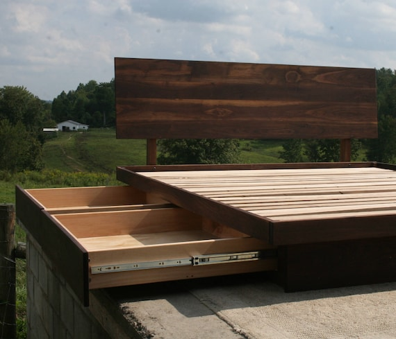 image 0 & NdFvS01 Solid Hardwood Cantilever Platform Bed with 4 drawers | Etsy