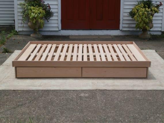 image 0 & NdFnN02 Solid Hardwood Low Platform Cantilever Bed with Four | Etsy