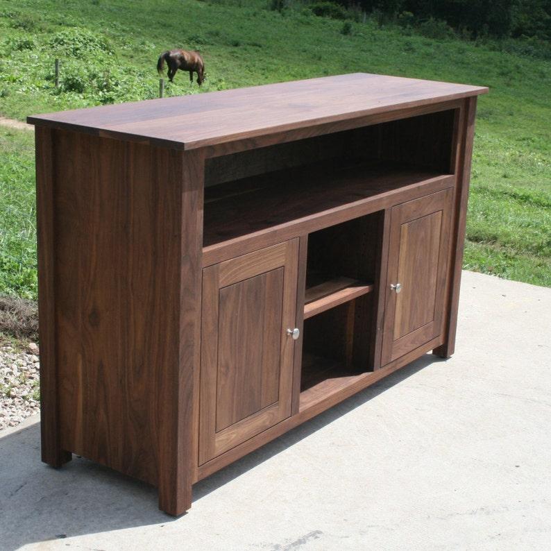 E0232A Hardwood Entertainment Console, 2 Inset Doors, Flat Panels, 58