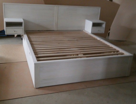 image 0 & NdFsC01 Solid Hardwood Cantilever Platform Bed with 4 drawers | Etsy