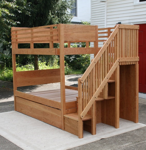 Btsnv01 Solid Hardwood Bunk Bed With Trundle And Stairs And Etsy