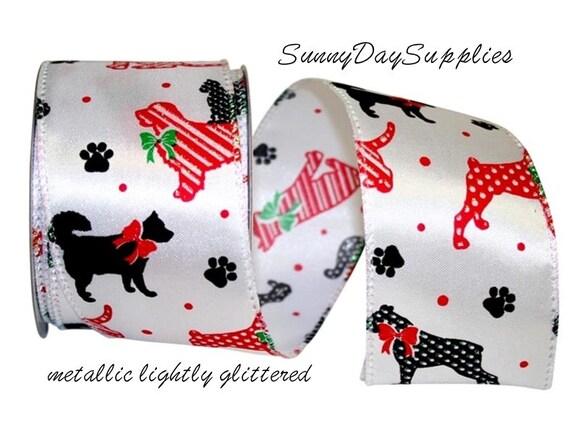 Verdrahtet Metallic Weihnachten Hund Band rot weiß