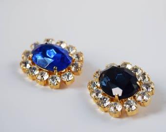 Queen Victoria Brooch, Victorian Wedding Brooch, Prince Albert Wedding Pin, Navy Crystal Brooch, Victorian Jewelry, Blue Paste Brooch