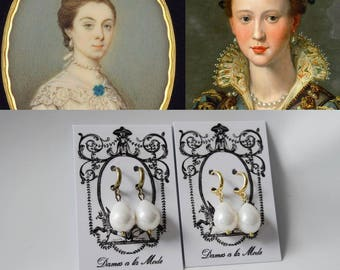 Pearl  Hoop Earrings, 18th Century Jewelry, Elizabethan Earring, Reproduction Jewelry, Large Pearl Drop Earring, Queen Elizabeth Antoinette