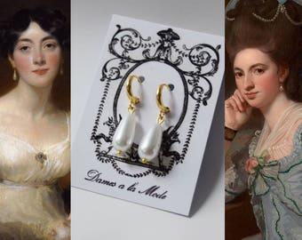 Regency Pearl Earrings, Historical Jewelry, 18th Century Pearl Earrings, Pearl Hoop Dangle Earring, Rococo Earring, Marie Antoinette earring