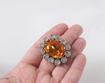 Orange Topaz Brooch, Georgian Jewelry, Victorian Brooch, Reproduction Jewelry, Historical Jewelry, Orange Crystal Pin, Rhinestone Brooch