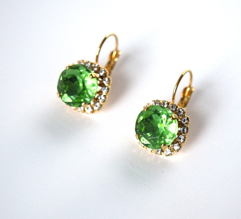 c4b782ef314 Green Rhinestone Earrings Peridot Green Earring Georgian