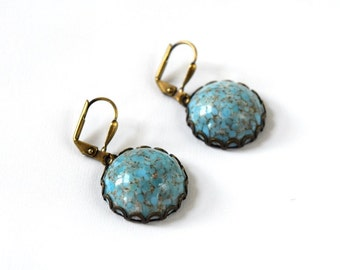 Turquoise Statement Earrings, Big Turquoise Earrings, Boho Earrings, Country Chic Jewelry, Antique Gold Blue Earrings, Texas Earring Cowgirl