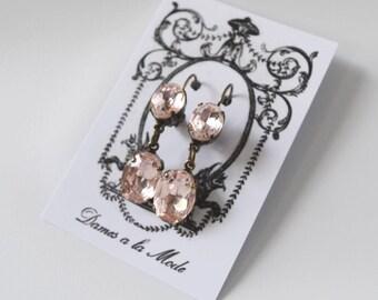 Blush Pink Earrings, Pink Crystal Earring, Blush Dangle Earring, Blush Pink Bridesmaid Earring, Pale Pink Wedding Earring, Pale Pink Crystal