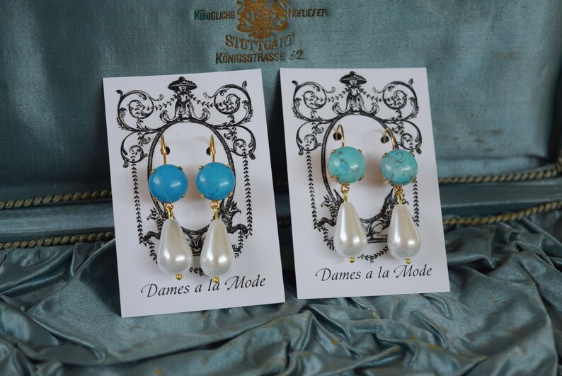 9e6b4495c Turquoise and Pearl Earrings Aqua Pearl Earring Regency | Etsy