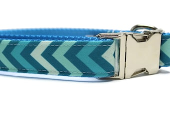 Canvas Dog Collar | Blue Chevron Canvas Dog Collar | Summer Dog Collar | Blue Dog Collar | Chevron Dog Collar | Strong Dog Collar