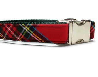 Red and Green Plaid Dog Collar with Metal Buckle | Plaid Dog Collar | Boy Dog Collar | Girl Dog Collar | Holiday Dog Collar