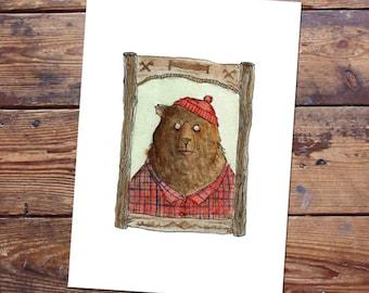 Bear Lumberjack Original Painting