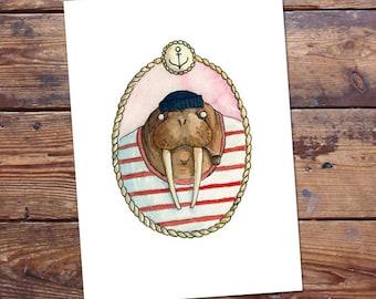 Walrus Sailor Original Painting