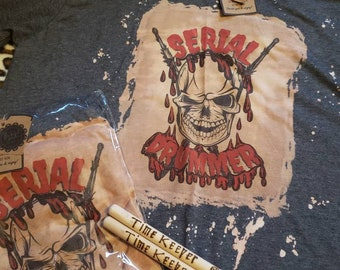 SERIAL DRUMMER bleached reverse tie dye splatter pattern Skull and Bleeding Broken Drumsticks pattern sublimation graphic tshirt drummer tee