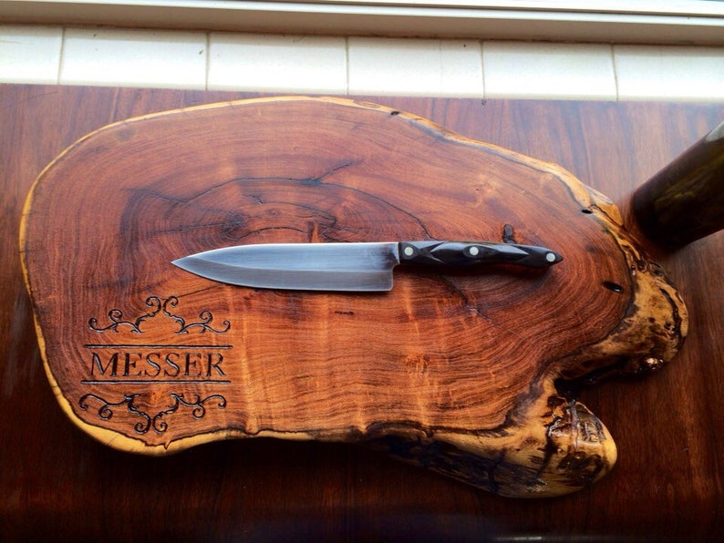 Custom cutting board natural edge end-Grain chopping block engraved Wedding cutting board tree slice tree round wood slab