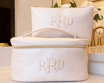 Personalized Train Case and Cosmetic Makeup Bag - Bridesmaid Gift - Bridal Gift - Personalized Makeup Bag - Monogram Makeup Bag