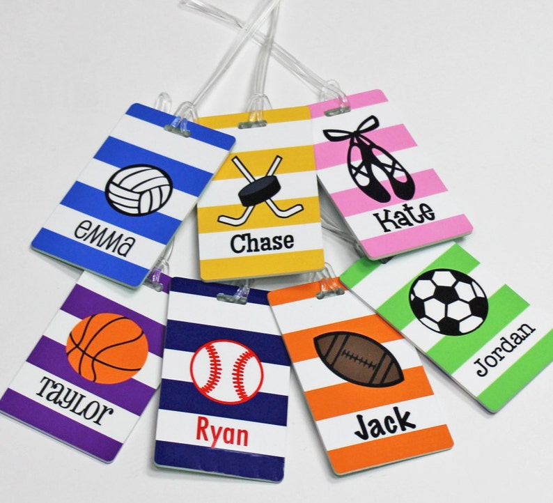 Kids Bag Tag Ballet Basketball Personalized Sports Bag Tag Football Soccer Volleyball Hockey Dance