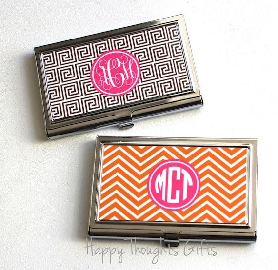 business card case monogram business card holder etsy