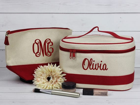 f0f0f2830fbe Monogram Train Case and Makeup Bag Personalized Travel Set