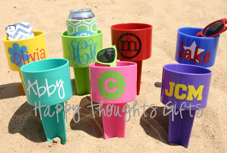 Monogrammed Beach Drink Holder Sand Spiker Etsy