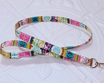 Lanyard - Badge Holder - Keychain Lanyard - Teacher Lanyard - Multi Colored Stripe