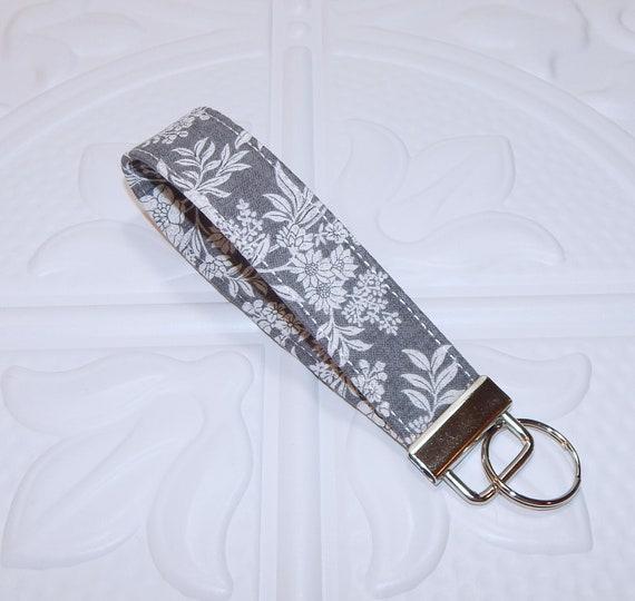 Gray Floral Key Fob Floral Key Chain Keychain Holder  d69b8d2a0b