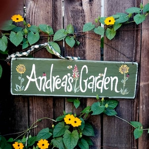 aianhe Ornamental Garden Sign,Blue Distressed Wood,5 x 10 Sign,Garden Gate Sign,Housewarming Gift and 6x12 Sign