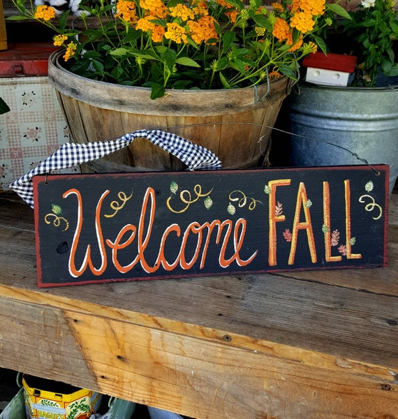 Welcome Fall Signrustic Halloween Home Decorfall Wood Etsy