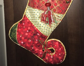 Jester Christmas Stocking -- Whimsical and Fun -- Metallic Fabric and Embellishments