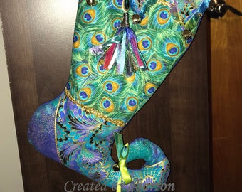 Jester Christmas Stocking -- Peacock Inspired -- Whimsical and Fun -- Metallic Fabric and Embellishments