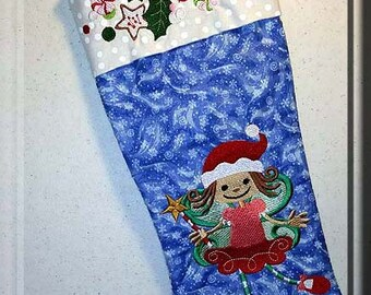 Embroidered, Christmas, Stocking, Christmas Stocking, cute, personalized, child, girl, christmas fairy, holly, cookies, christmas candy,