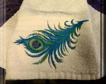 Embroidered Hanging Towel, Kitchen Towel, Tea Towel, Towel for kitchen or bathroom, peacock feather, blues, greens, beautiful, embroidered