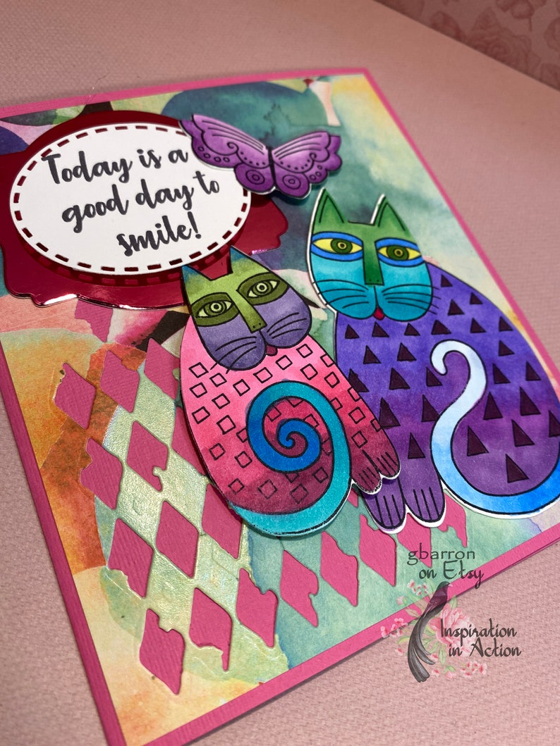 59 So Cute!!! Laurel Burch Hand Painted Cats Greeting Card Colorful and Whimsical Card