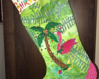 Tropical Flamingos Christmas Stocking -- Stocking, Flamingo,  Christmas Stocking, cute, custom made, hand-dyed batik fabric
