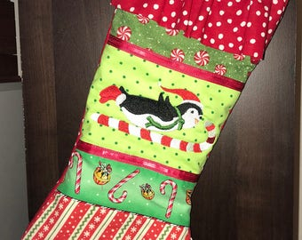 Embroidered Christmas Stocking -- Penguin, Candy cane, Peppermint, Christmas Stocking, cute, child, Christmas candy,