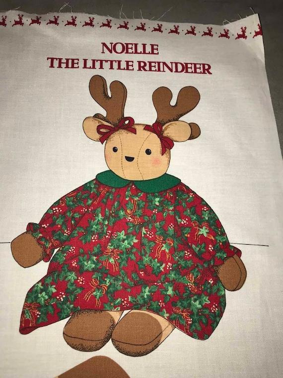 Noelle The Little Reindeer Vintage Fabric Panel Etsy