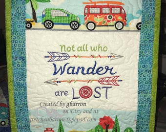 Camping-Themed Contemporary Quilted & Embroidered Wall Hangings or Table Toppers -- Camper, RV, Motorhome, Route 66, Not All Who wander...