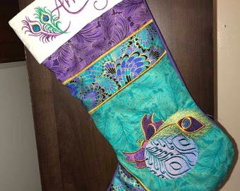 Gorgeous Peacock-Inspired Heirloom Christmas Stocking -- personalized, custom made, Jewel tone colors, metallic fabric, peacock feathers