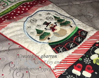 Darling Snowglobe Christmas Stocking -- Snowman Scene -- personalized, custom made, unique
