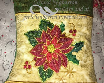 Elegant Red, Green and Gold Metallic Embroidered & Personalized Christmas Stocking - Poinsettia - Metallic Fabric and Optional Beaded Tassle