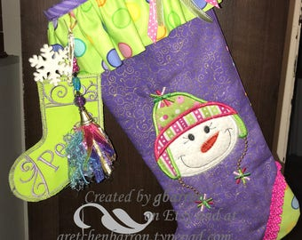 Cute and Whimsical Snow-Girl Appliqued Christmas Stocking -- Pink, Purple & Green, Ruffles and Bows, Optional Add-ons!