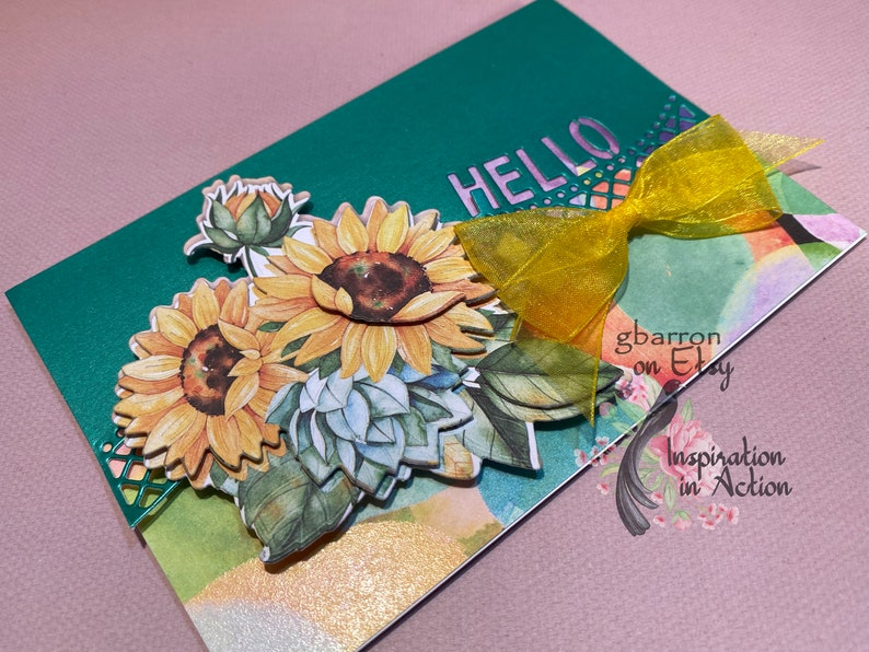 Floral Bouquet 33 Hello and Sunflowers Unique Greeting Card with the Sentiment Die Cut into the Front
