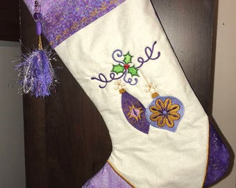 Purple and White Christmas Stocking -- Metallic Fabrics and Embellishments -- Optional Personalized Tag and Beaded Tassel