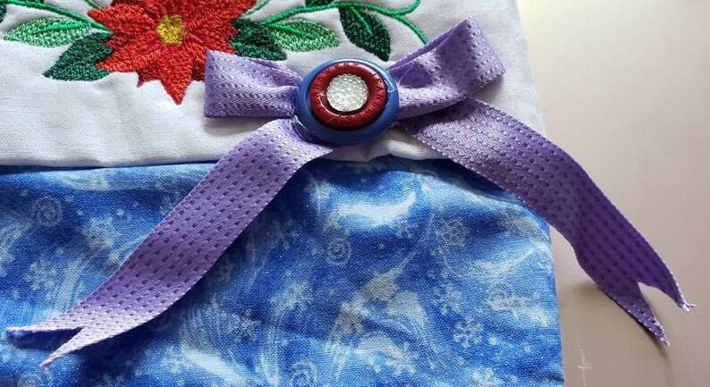 Christmas Stocking Blue metallic fabric Ready to Ship O Come All Ye Faithful Christmas Stocking
