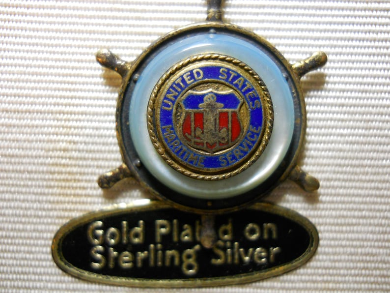 United Stares Sterling Silver Maritime Service Necklace