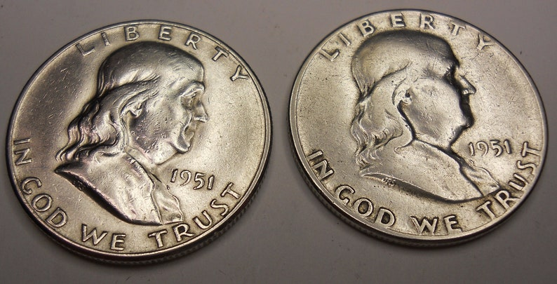 1951 P 1951 S Franklin Half Dollar Looks Uncirculated Coin Etsy