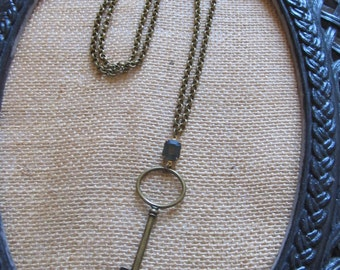 Vintage Necklace--Vintage Key and Stone Necklace